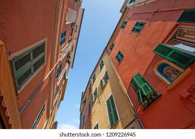 central streets of Celle Ligure picturesque Ligurian village