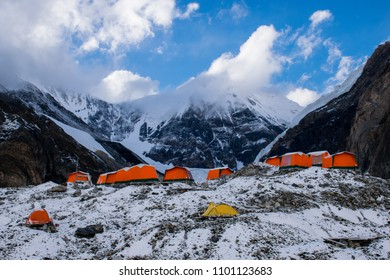 Central Tian Shan / Kazakhstan - Jul 2017: Base camp of Khan-Tengry peak on sunset.  Best place for active life, vacation, trekking, hiking and climbing in Central Asia, Kazakhstan and Kyrgyzstan.