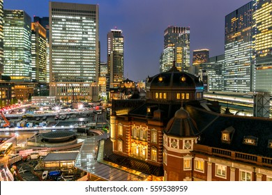 Central of tokyo and tokyo train station at dusk
