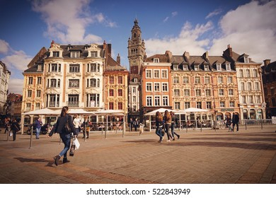 Central town square, La Grand Place in Lille, Lille France, October 2016