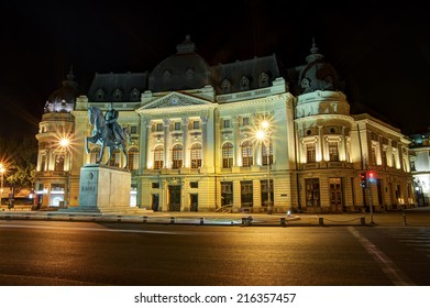 Central University Library of Bucharest with the statue of the first king of Romania in front