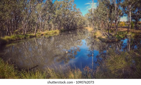 Central Victoria Strathdale Park Pond. Dirty water collecting from recent rain in autumn.