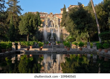 Central view of the Villa d'Este in Tivoli during the day
