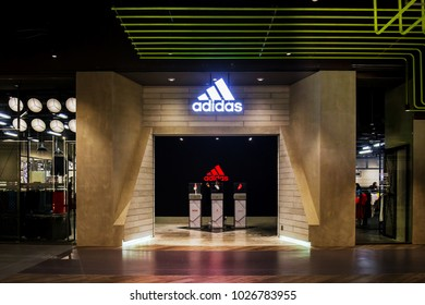 CENTRALWORLD, BANGKOK - FEB 17: New Adidas Originals Store at Central World on February 17, 2018 in Bangkok. Adidas Originals at Central World Bangkok is the largest shop in Asia.