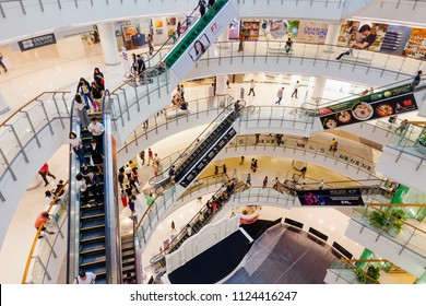 CENTRALWORLD, BANGKOK - MAY 28: Central World Shopping Center after renovated on May 28, 2018 in Bangkok. Central World is located right at the corner of Ratchaprasong intersection.