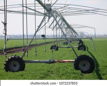 Centre pivot farm irrigation equipment, Darling Downs, Queensland Australia