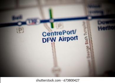 Centre Port / DFW Airport Station. Dallas Metro map.