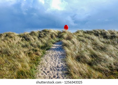 In the centre a sandy pathway with lots of footprints runs through long yellow windswept grass covered sand dunes at the end of the path is a bright red Life saving belt with a cloudy sky