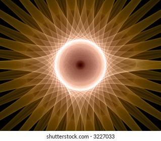 centred design element, sun, black background
