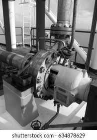 The centrifugal pump installed on gas process system at oil and gas offshore platform.