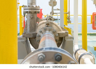 Centrifugal type liquid transfer pump drive by electric motor for transfer condensate to stabilizer column at offshore oil and gas central processing platform.