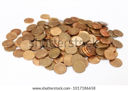 Cents Cents Of Euro Money Mountains Of Cent Coins Copper Color On
