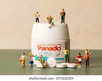 Centurion, Gauteng, South Africa - May 12 2021:  Panado Paracetamol tablets for general headaches, pain and fever.  The label is in Afrikaans.  Manufactured by Adcock Ingram in South Africa.