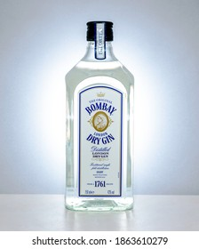 Centurion, Gauteng, South Africa - Nov 27 2020:  The original Bombay London Dry Gin, made from eight hand selected botanicals.  Produced in England and bottled in Scotland.
