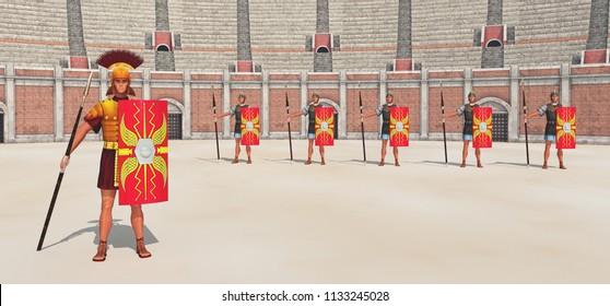 Centurion, legionaries  in ancient Rome Computer generated 3D illustration