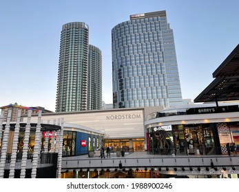 Century City, CA: May 5, 2021:  A Westfield Century City mall in the Century City district.  Westfield's Century City mall is quite a popular shopping destination in Los Angeles.