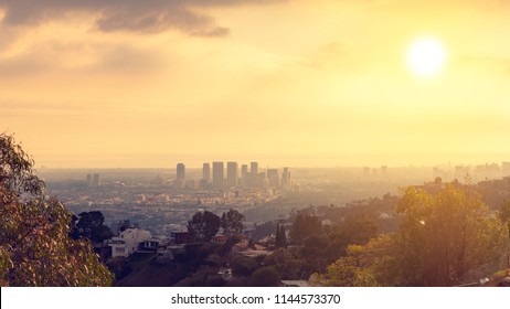 Century City skyline view at sunset in west Los Angeles valley area from Runyon Canyon. West LA hills