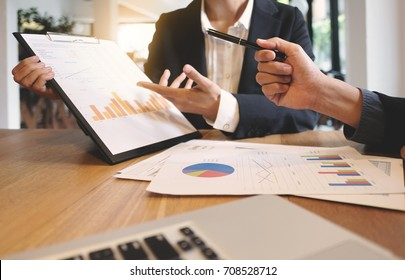 ceo executives meeting working with new project, business people discussion and analysis data, charts and valuation graph.