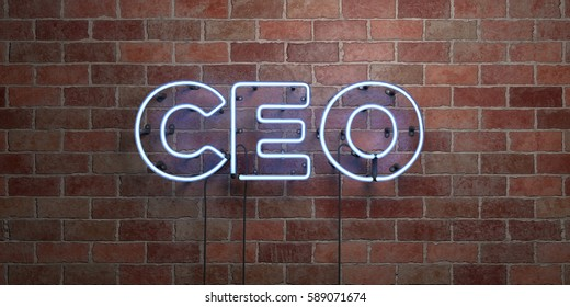 CEO - fluorescent Neon tube Sign on brickwork - Front view - 3D rendered royalty free stock picture. Can be used for online banner ads and direct mailers.