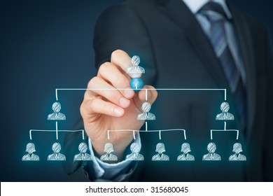 CEO, leadership and corporate hierarchy concept - recruiter complete team by one leader person (CEO).