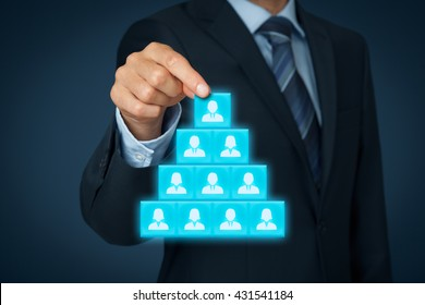 CEO, leadership and corporate hierarchy concept - recruiter complete team with one leader person.