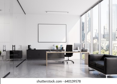 CEO office interior with a wooden table, a computer standing on it, a framed poster on a white wall and glass walls. 3d rendering, mock up