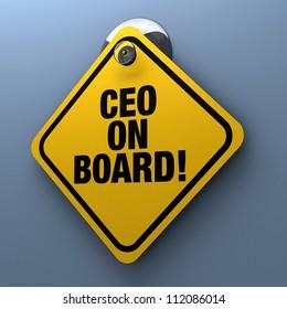 CEO On Board car window display