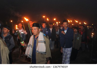 Cepit village community, Temanggung in nyadran procession. Nyadran is a tradition to pray for a deceased ancestor.  27 March 2019