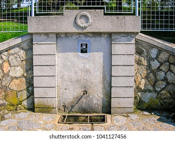 Cer, Serbia April 22, 2006: drinking fountain dedicated to Serbian military leaders Stepa Stepanovic. He was a Serbian military commander who fought in the Balkan War and World War First.