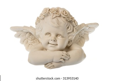 Ceramic angel isolated.