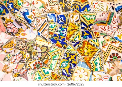 Ceramic art in Park Guell in Barcelona, Spain