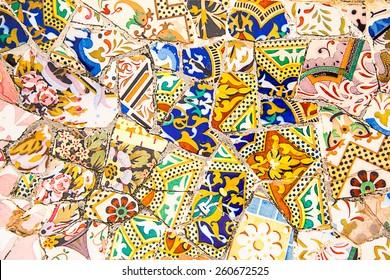 Ceramic art in Park Guell in Barcelona, Spain