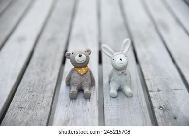 ceramic bears and rabbit