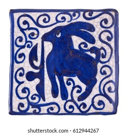 Ceramic blue and white vintage tile with rabbit motif. Has clipping path.