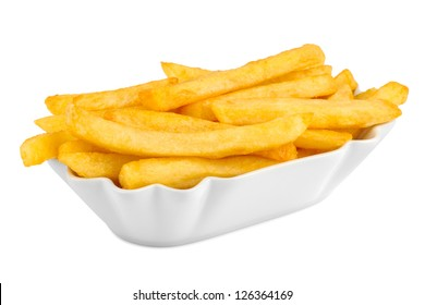ceramic bowl with french fries.