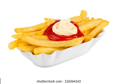 ceramic bowl with french fries, ketchup and mayonnaise.