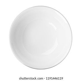Ceramic bowl with space for text on white background, top view. Washing dishes