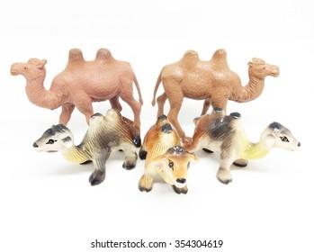 Ceramic camel on a white background. A souvenir.