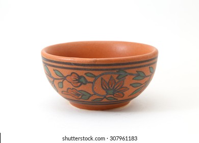 ceramic clay pot or bowl isolated on white