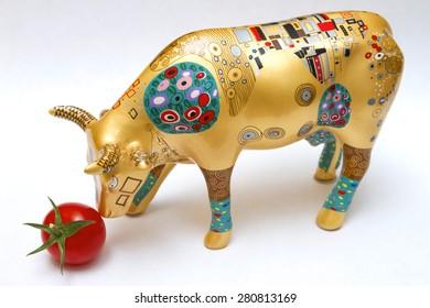Ceramic Cow and tomato
