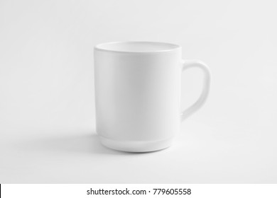 Ceramic cup on white background. Mockup for design