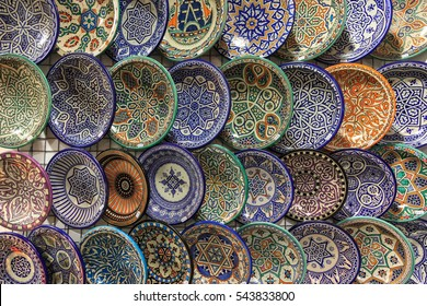 Ceramic dishes with Arabic decoration. Granada, Spain