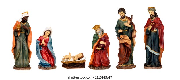 Ceramic figures for the nativity scene isolated on a white background