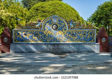 ceramic fountain of Talavera de la Reina in the meadow gardens, in Talavera de la Reina, province of Toledo. Spain