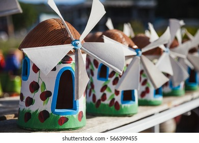 Ceramic garden decoration colorful mills