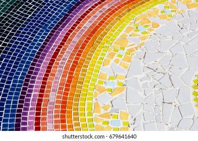 Ceramic glass colorful tiles mosaic composition pattern backgrou