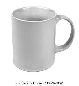 Ceramic grey cup on white background. Mockup for design