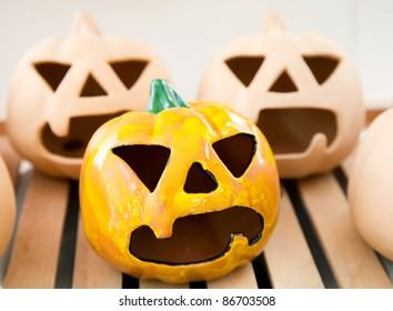 Ceramic handmade candlestick pumpkin face for Halloween