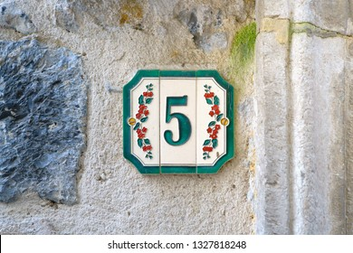 Ceramic house number five (5)
