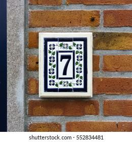 Ceramic house number seven.